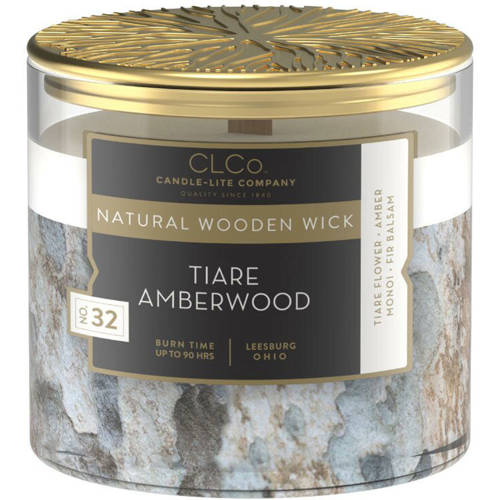 Candle-lite CLCo Candle Natural Wooden Wick 14 oz luxury scented candle ~ 90 h - No. 99 Tiare Amberwood