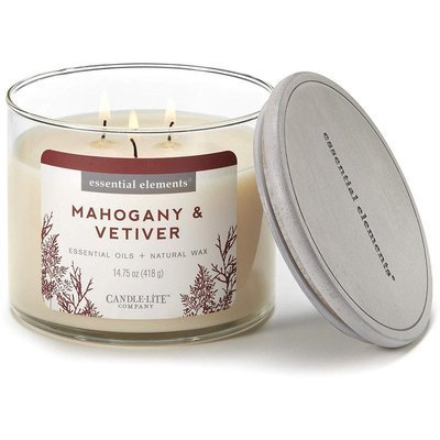 Candle-lite Essential Elements 3-Wick Natural Scented Candle Glass Jar 14.75 oz 418 g - Mahogany & Vetiver