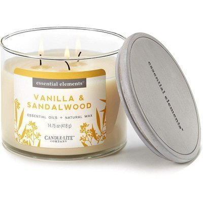 Candle-lite Essential Elements 3-Wick Natural Scented Candle Glass Jar 14.75 oz 418 g - Vanilla & Sandalwood