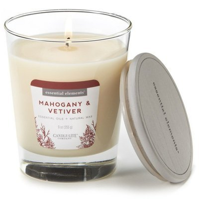 Candle-lite Essential Elements Glass Natural Scented Candle 9 oz 255 g - Mahogany & Vetiver