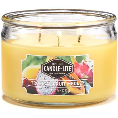 Candle-lite Everyday Collection 3 Wick Terrace Jar Glass Scented Candle 10 oz 283 g - Tropical Fruit Medley