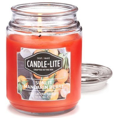 Candle-lite Everyday Collection Large Scented Jar Glass Candle 18 oz 145/100 mm 510 g ~ 110 h - Sunlit Mandarin Berry