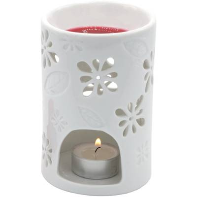 Nyl Ceramic Wax Burner with openwork - White
