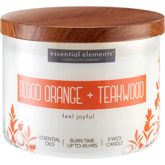 Candle-lite Essential Elements Large Soy Scented Candle in Glass 418 g 14.75 oz with Essential Oils - Blood Orange & Teakwood