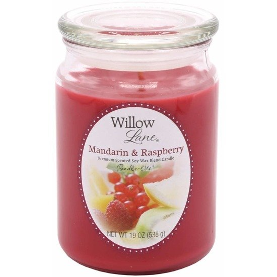Candle-lite Willow Lane Collection Glass Jar Candle With Lid 19 oz duża sojowa świeca zapachowa w szklanym słoju 145/100 mm 538 g ~ 115 h - Mandarin & Raspberry
